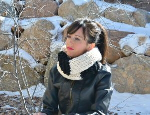 Black and White Checkmate Beginner Knit Scarf