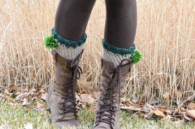 St. Patty's Easy Crochet Boot Cuffs with Poms