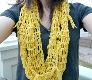 Crochet Lace Infinity Scarf - Yellow