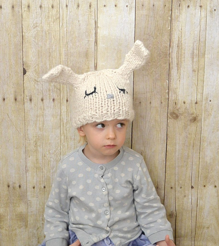 Easy Knit Toddler Bunny Hat