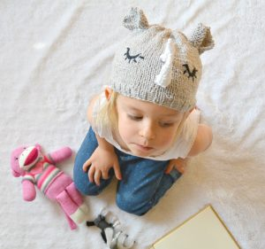Toddler knit rhino hat