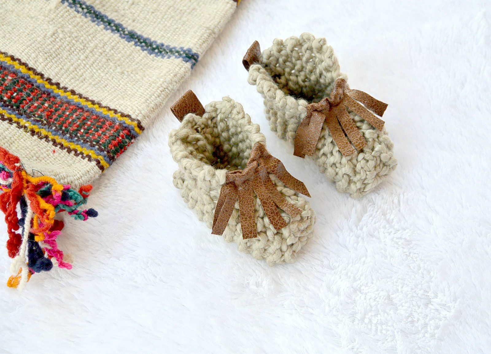 "Beginner Knit Baby Booties ""Moccasins"""