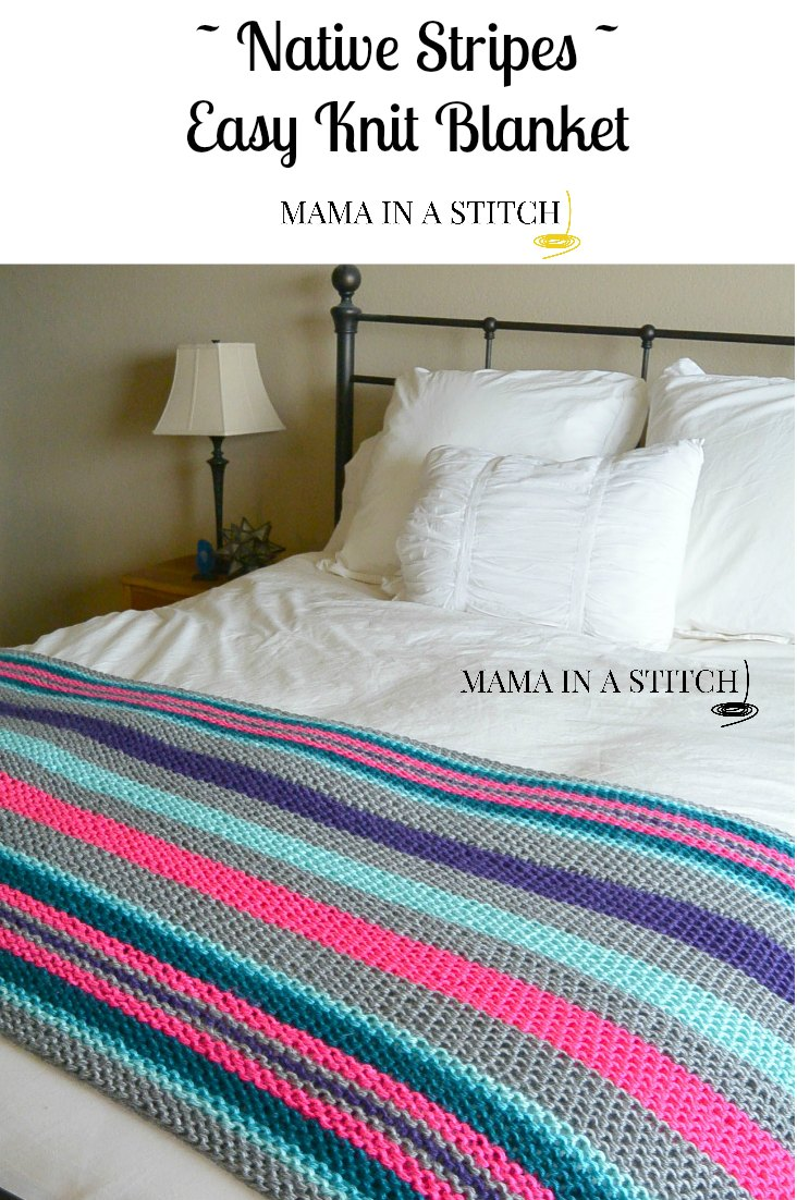 Easy Native Stripes Knit Blanket / Throw   Mama In A Stitch
