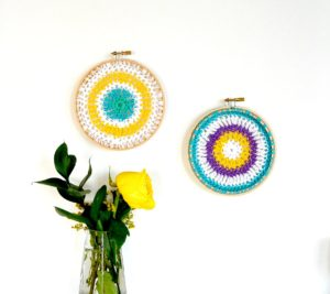 Wall Hanging Crochet Mandala in Hoops