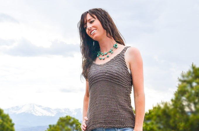 Simple Cocoa Knit Sleeveless Top Pattern