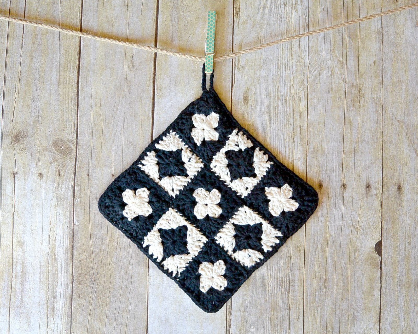 Modern Granny Square Crochet Potholder by Mama in a Stitch