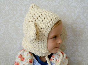 Beginner Crochet Lamb Hat Side