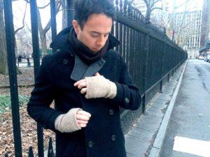 Knit Fingerless Gloves for Men