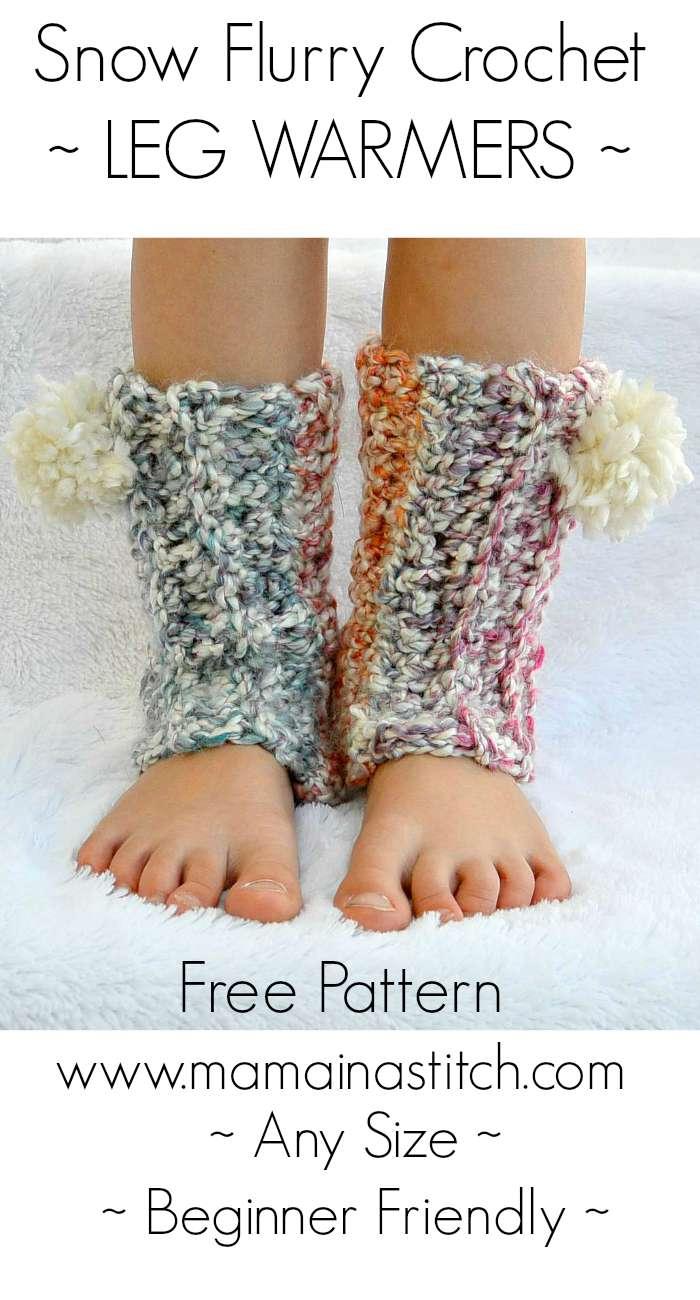 Snow Flurry Leg Warmers Beginner Crochet Pattern Any Size Mama In A Stitch