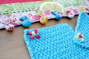 Easy knit coasters seed stitch turq