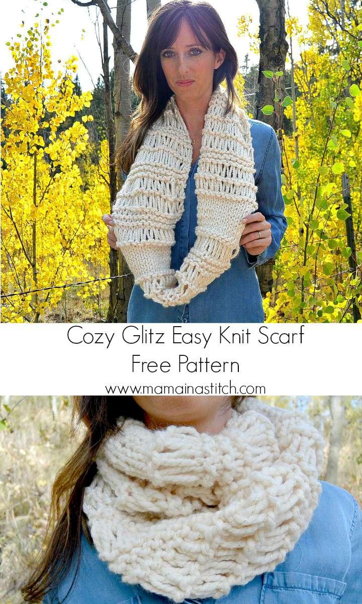 Easy Chunky Scarf Knitting Patterns Free : Cozy Glitz - Chunky Knit Infinity Scarf Pattern   Mama In A Stitch