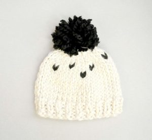 Simple Big Pom Toddler Hat Knit Black and White Poms