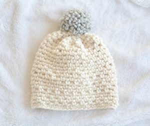 Easy Chunky Pom Crochet Hat Pattern