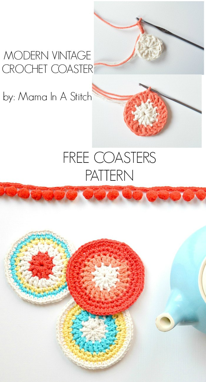 Colorful Little Vintage Coasters Free Crochet Pattern Mama In
