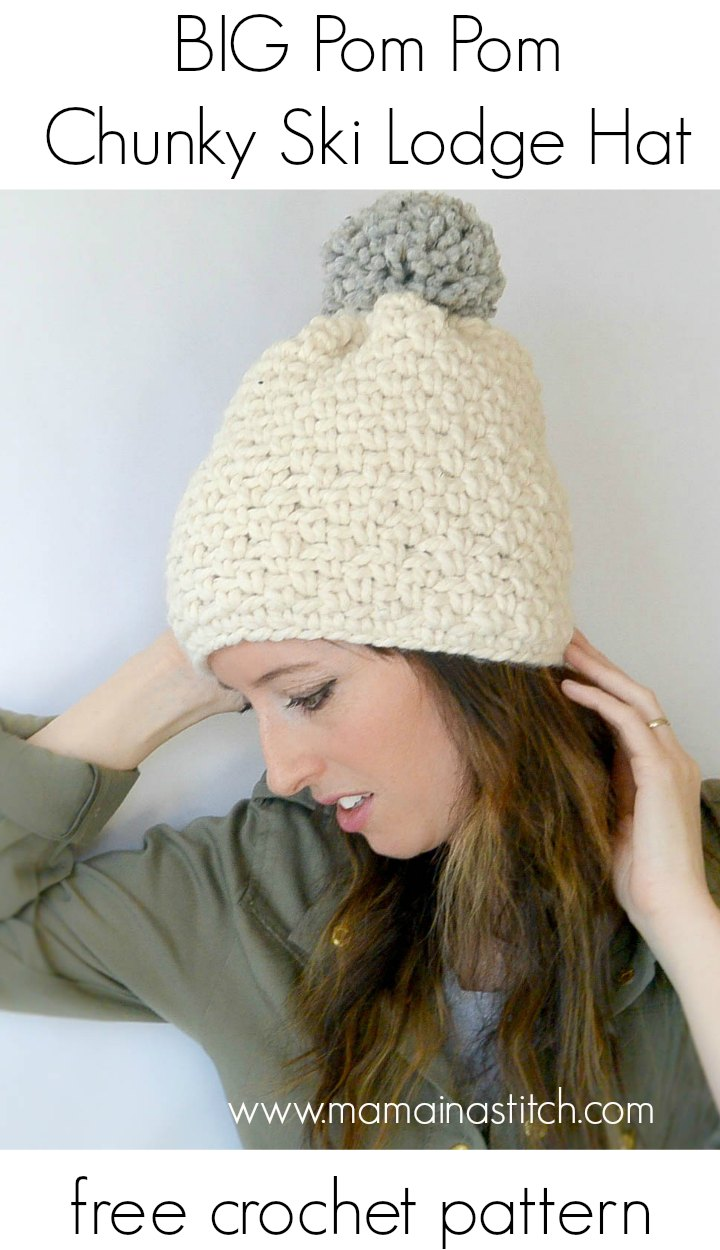 Ski Lodge Chunky Crochet Pom Hat Pattern – Mama In A Stitch
