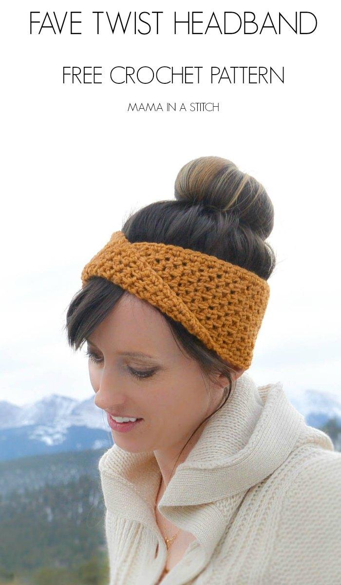 Golden Fave Twist Headband Free Crochet Pattern Mama