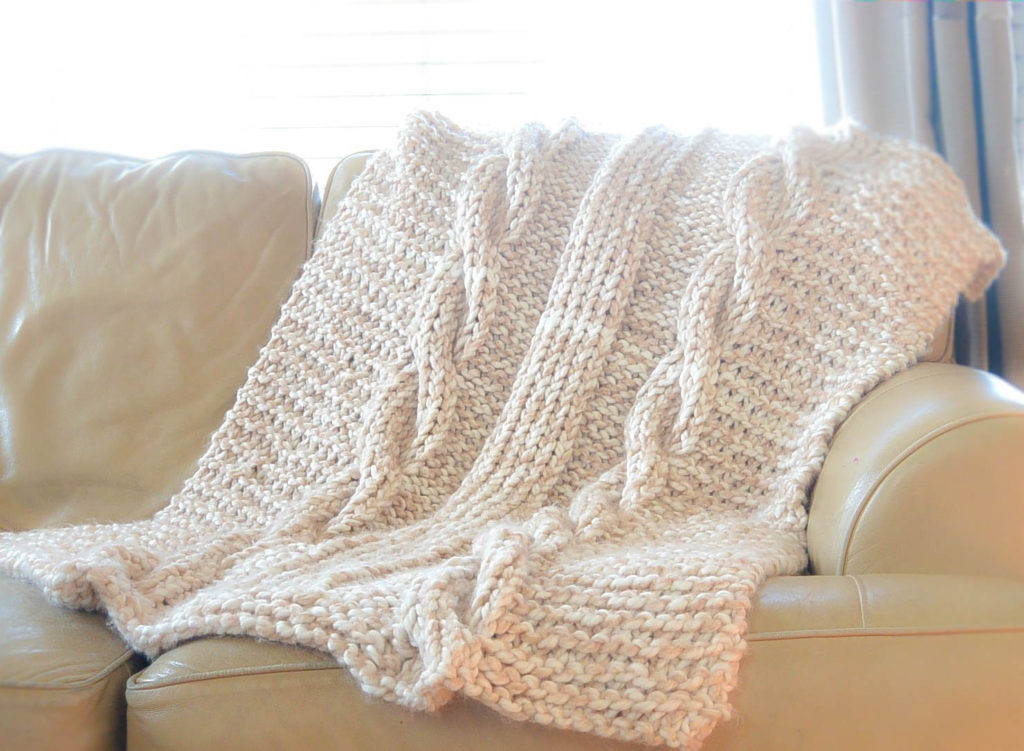 Easy Knitting Patterns For Throw Rugs : Endless Cables Chunky Knit Throw Pattern   Mama In A Stitch