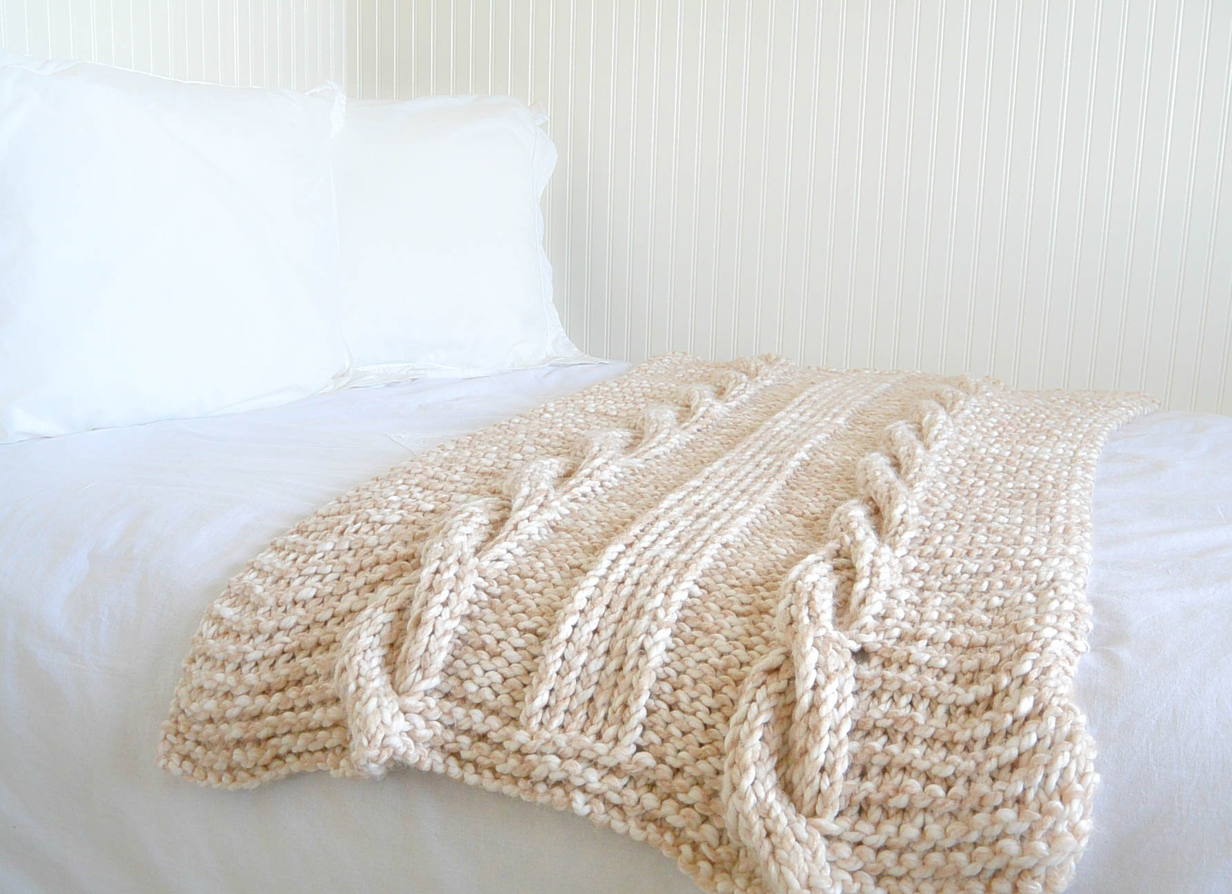 Baby Shawls Knitting Patterns Free : Endless Cables Chunky Knit Throw Pattern   Mama In A Stitch
