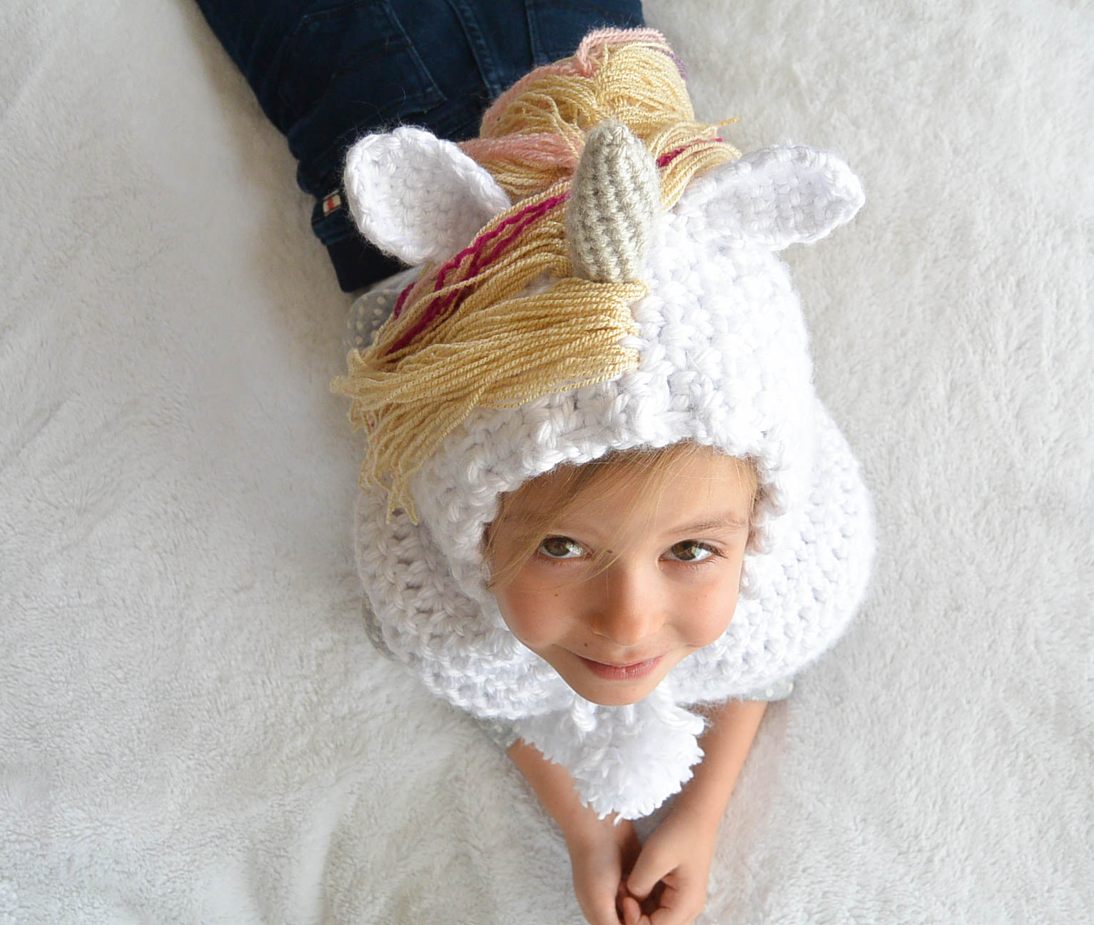 Crochet Unicorn Hooded Scarf Pattern : Toddler Magical Unicorn Crochet Hood Pattern