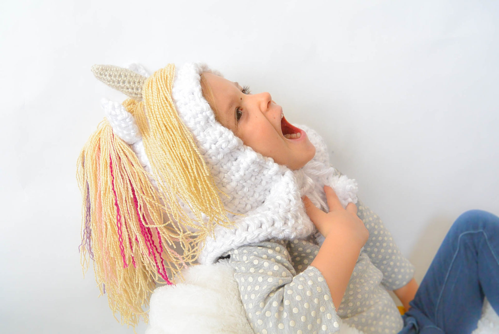 Crochet Pattern For A Unicorn Hat : Toddler Magical Unicorn Crochet Hood Pattern ? Mama In A ...