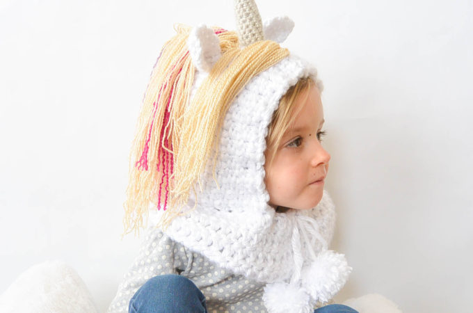 Toddler Magical Unicorn Crochet Hood Pattern