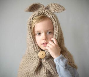 Free Knitting Pattern - Bunny Hood Shawl Cowl