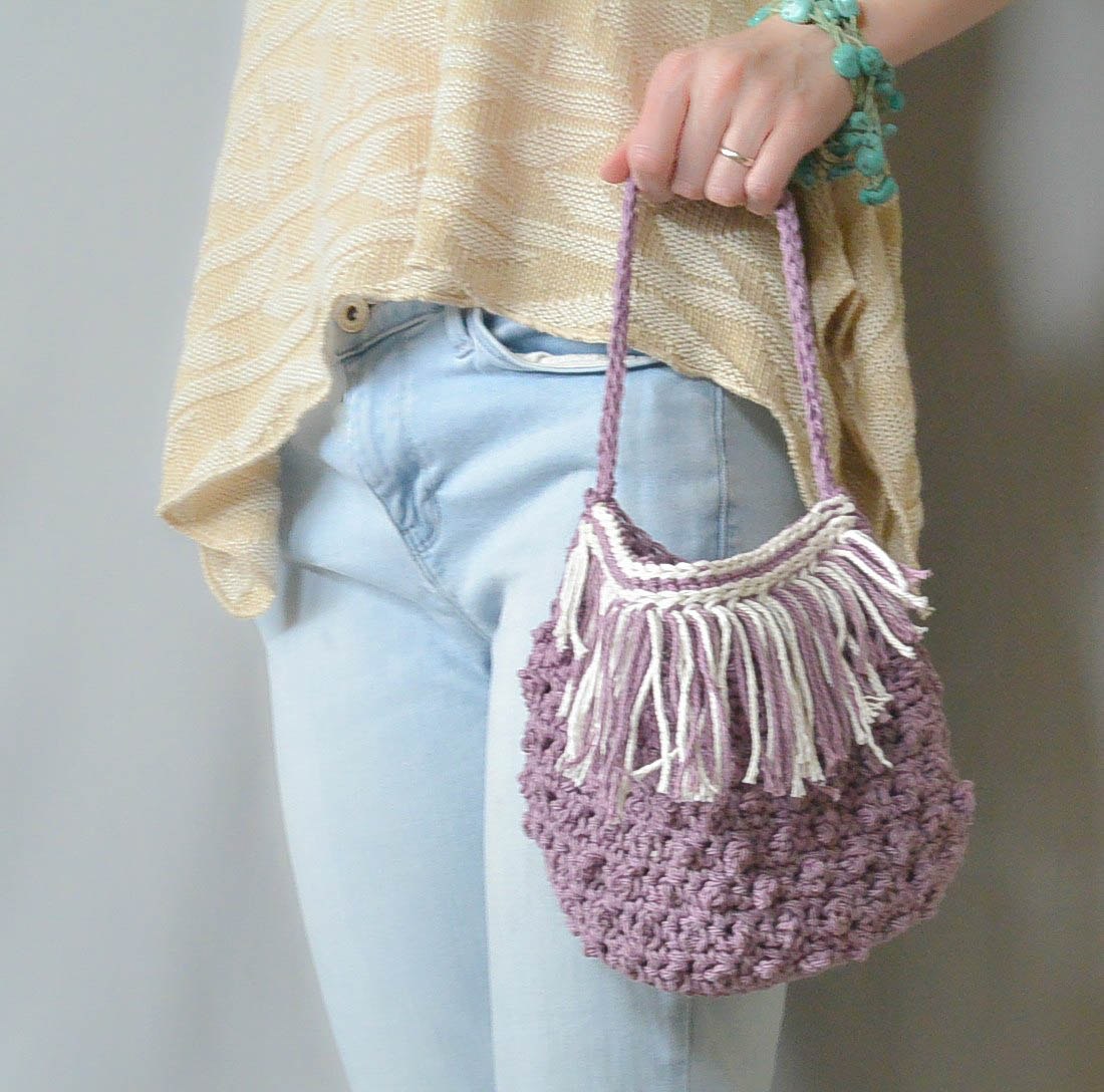 Crochet Fringe Bag : Festival Fringed Crochet Purse Pattern - Mama In A Stitch