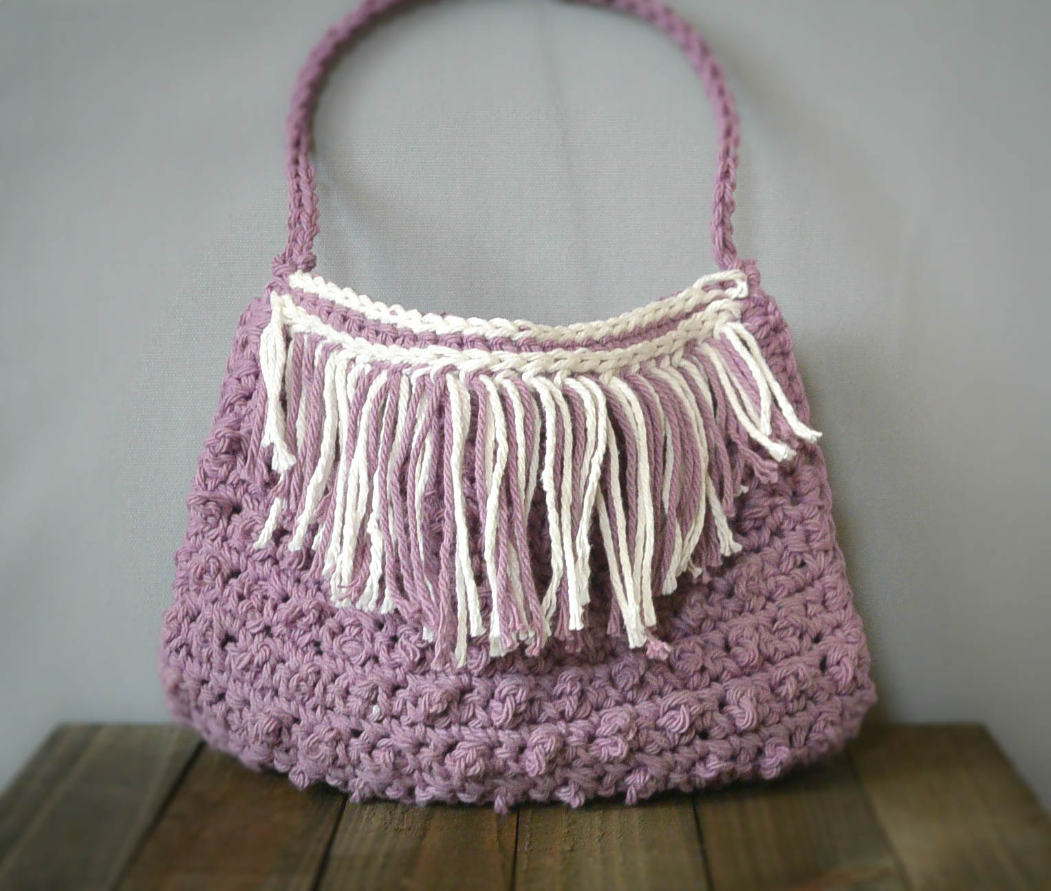 Crochet Fringe Bag : skeins Worsted Weight Cotton Yarn ( I used Lily Sugar N Cream in ...