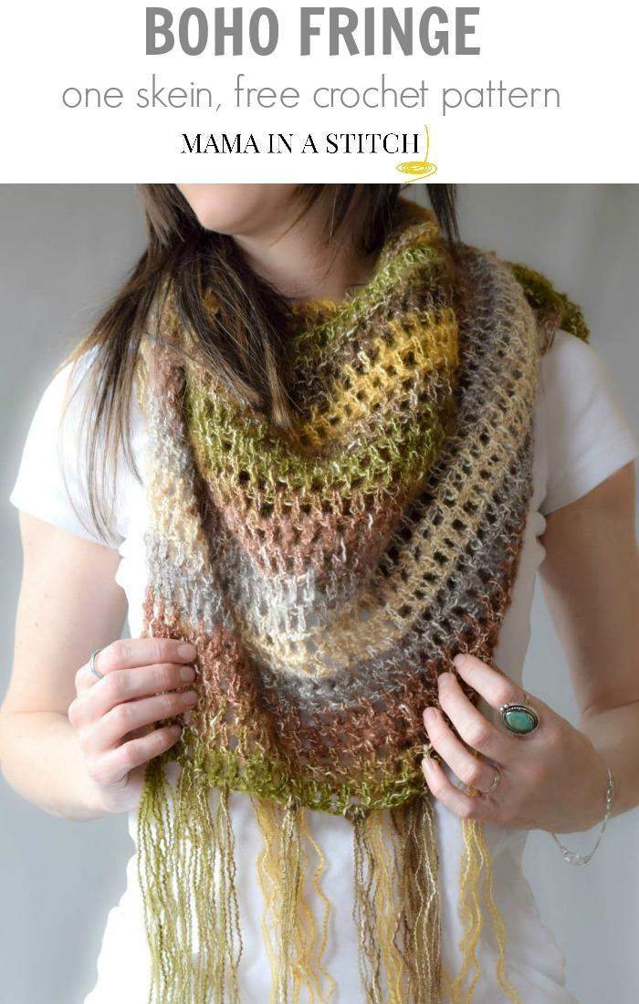 One Skein Crochet Boho Shawl Pattern Mama In A Stitch