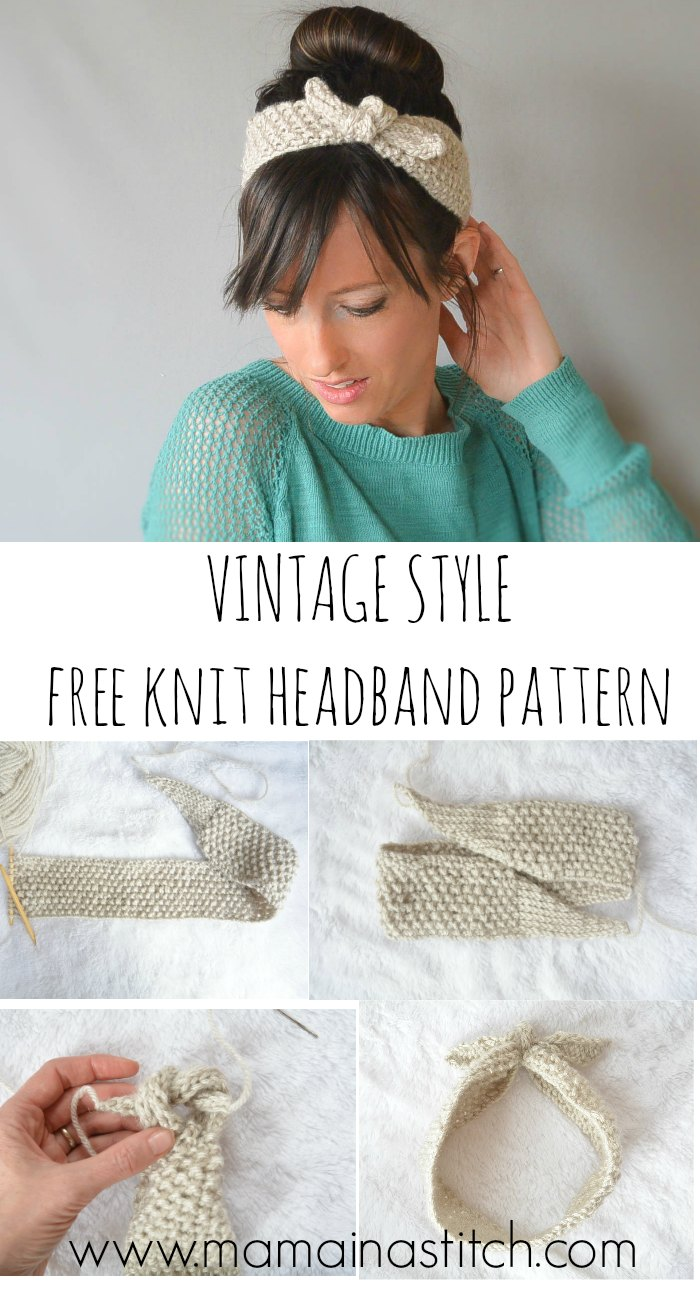 Knitting Patterns Free Vintage : Vintage Knit Tie Headband Pattern   Mama In A Stitch