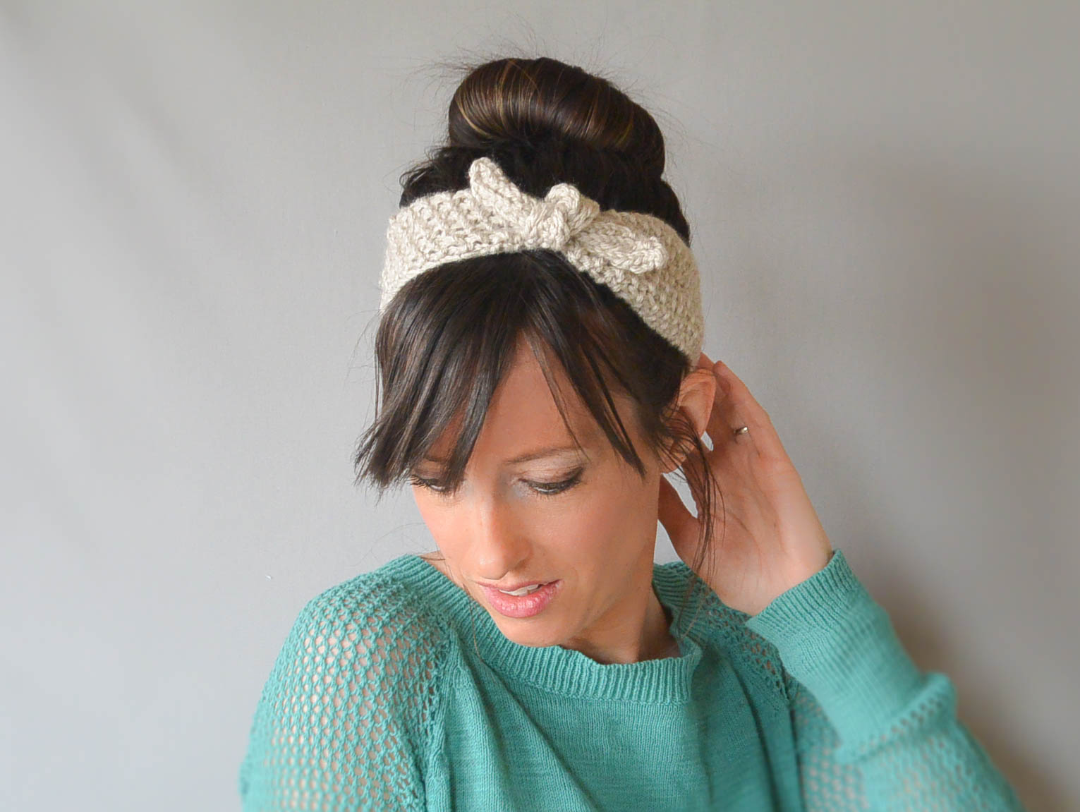 Knit Pattern For Headband : Vintage Knit Tie Headband Pattern   Mama In A Stitch