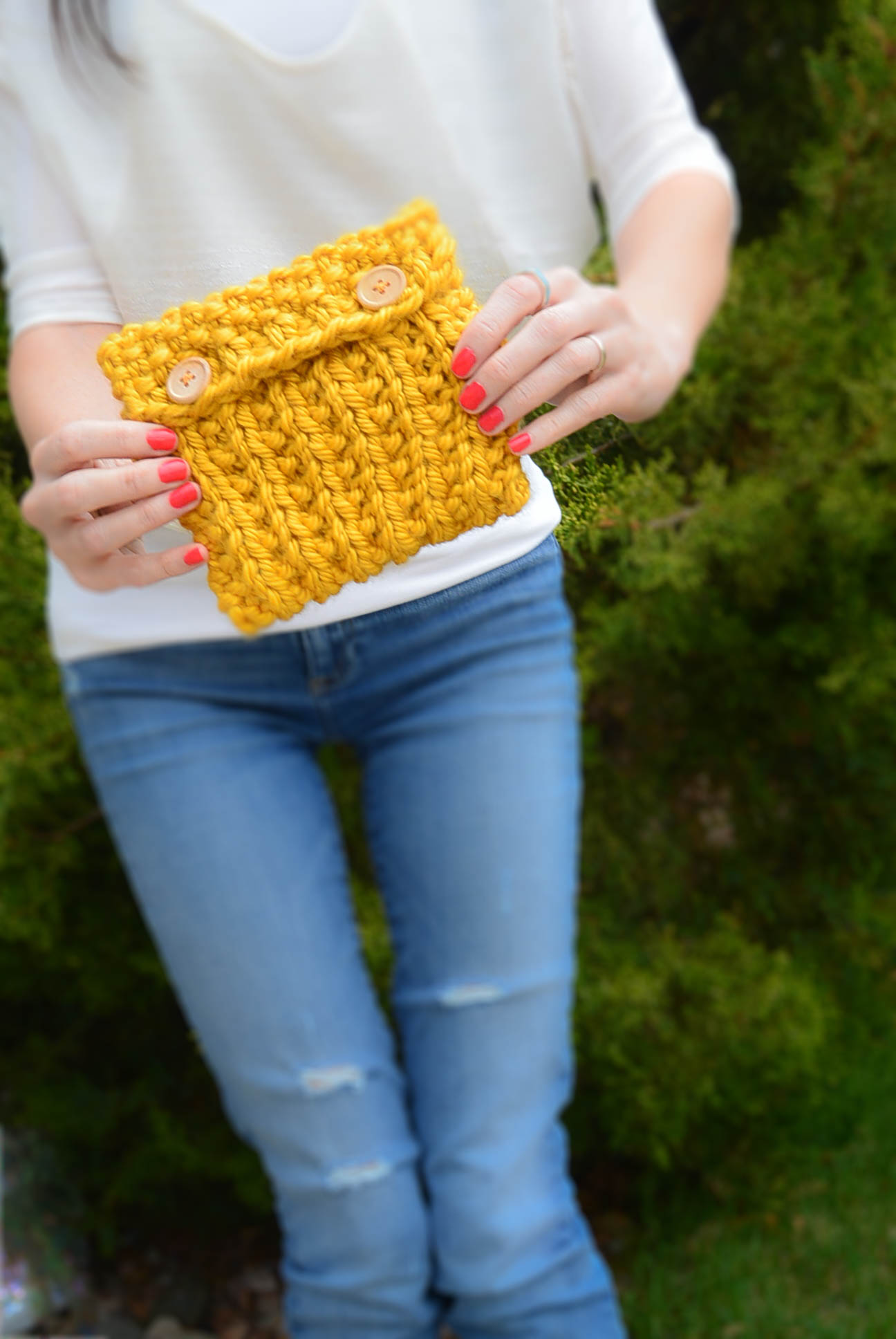 Broken Rib Knit Pouch Pattern Free