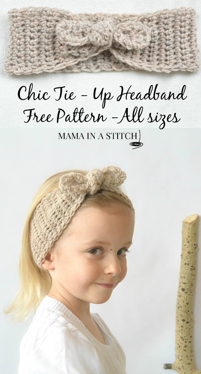 Naturally Chic Tie Up Crochet Headband Pattern Mama In A Stitch