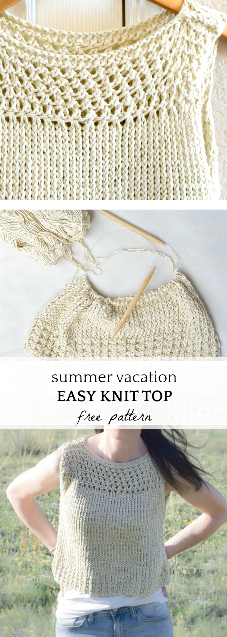 This easy knit top is so beautiful and works up quickly too! You can find the free pattern as well as extra pictures on the blog.  #knittingpattern #summer #style #diy