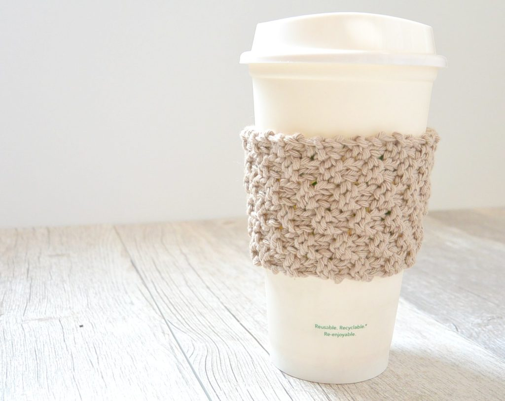 Double Seed Stitch Knit Coffee Cozy - Mama In A Stitch