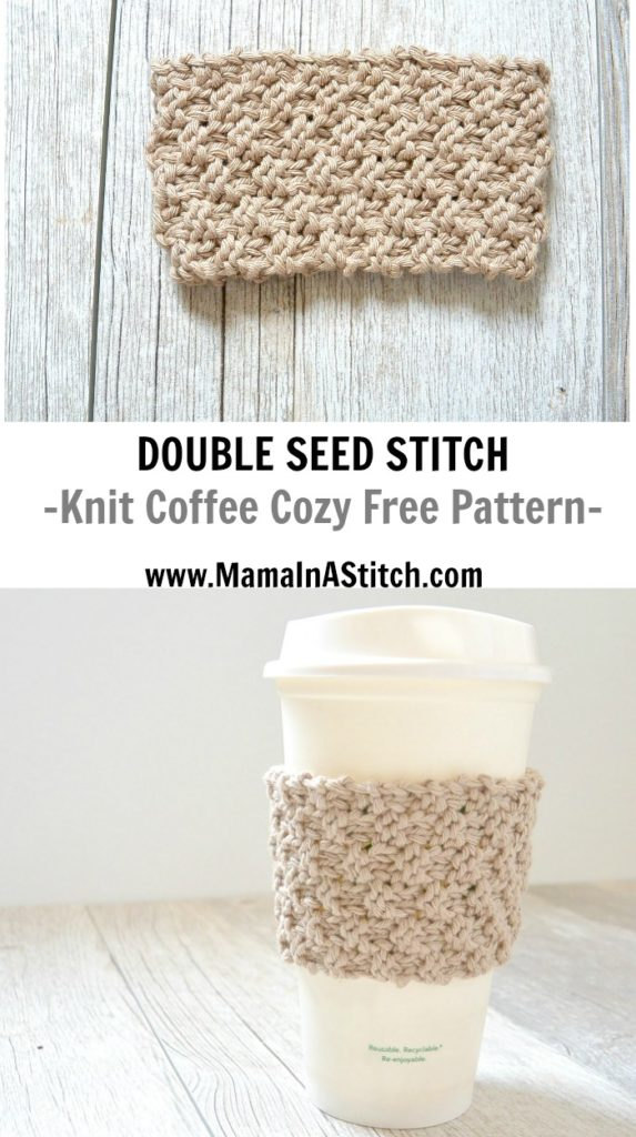 Knit Koozie Pattern : Double Seed Stitch Knit Coffee Cozy   Mama In A Stitch