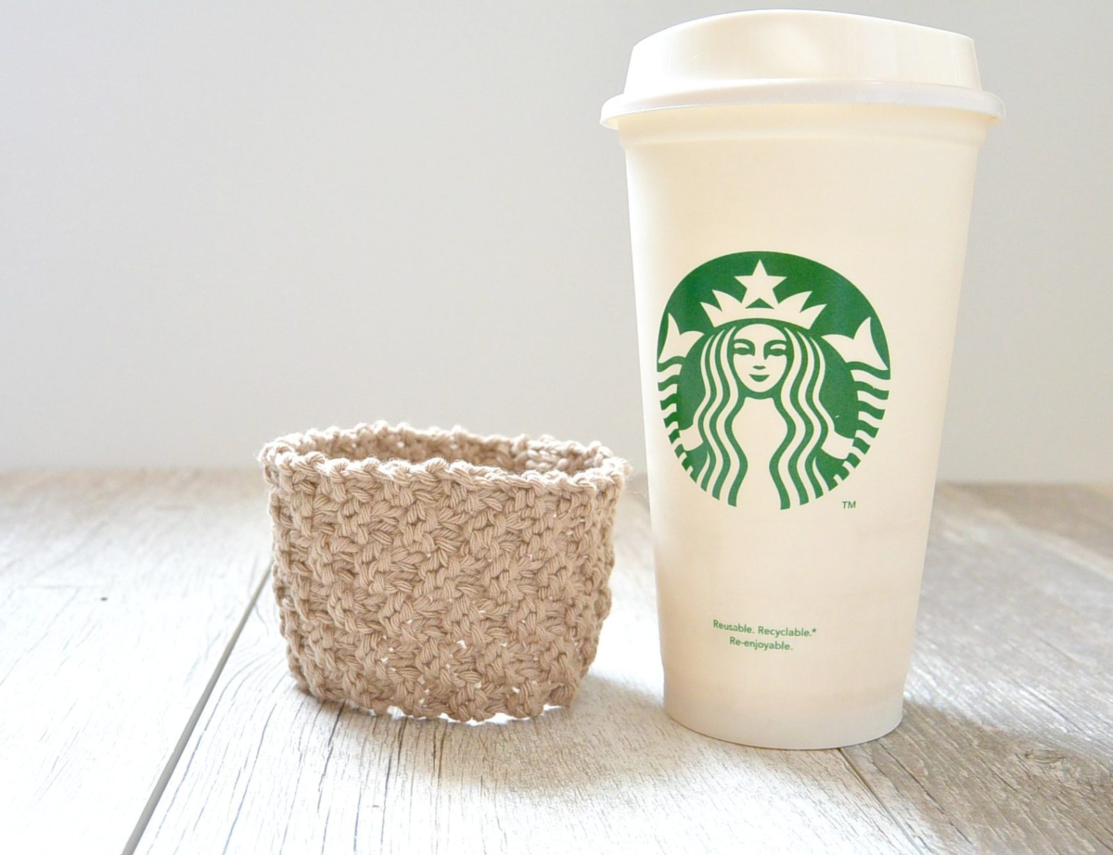Double Seed Stitch Knit Coffee Cozy   Mama In A Stitch