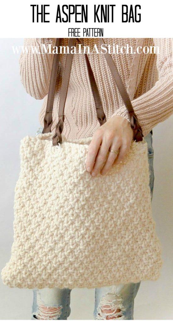 Aspen Free Knitting Pattern for Tote Bag
