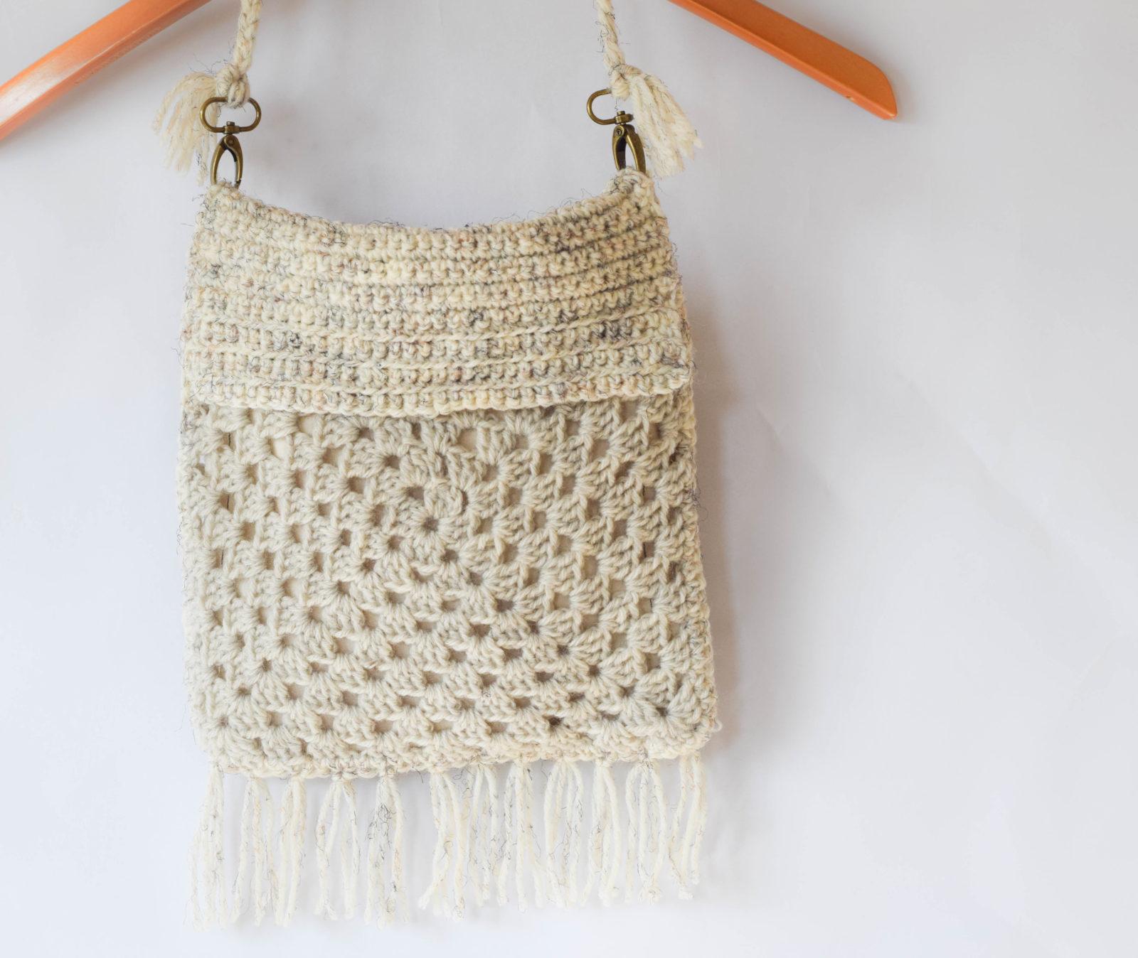 Crochet Backpack Bag Pattern : Boho Fringe Granny Square Crochet Purse ? Mama In A Stitch