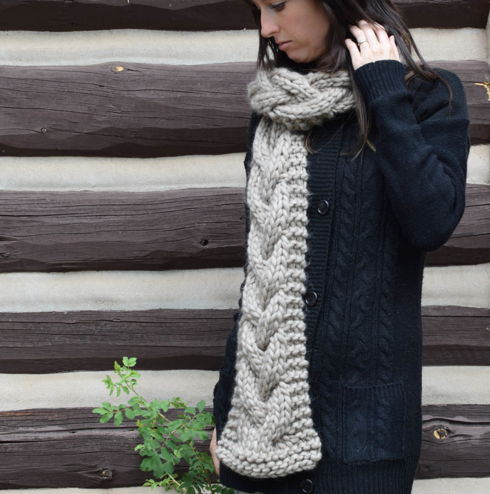 Free Knitting Pattern Chunky Cable Scarf : The Cascades Knit Scarf   Mama In A Stitch