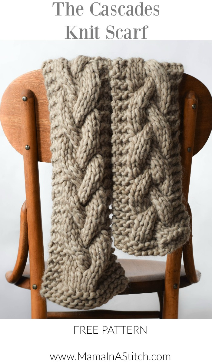 Free Crochet Pattern For Cable Scarf : The Cascades Knit Scarf ? Mama In A Stitch