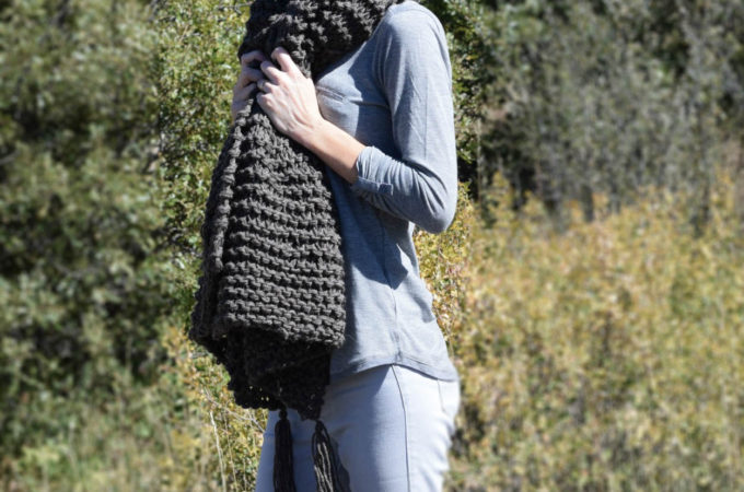 Big Beginner Knit Shawl – Scarf Pattern