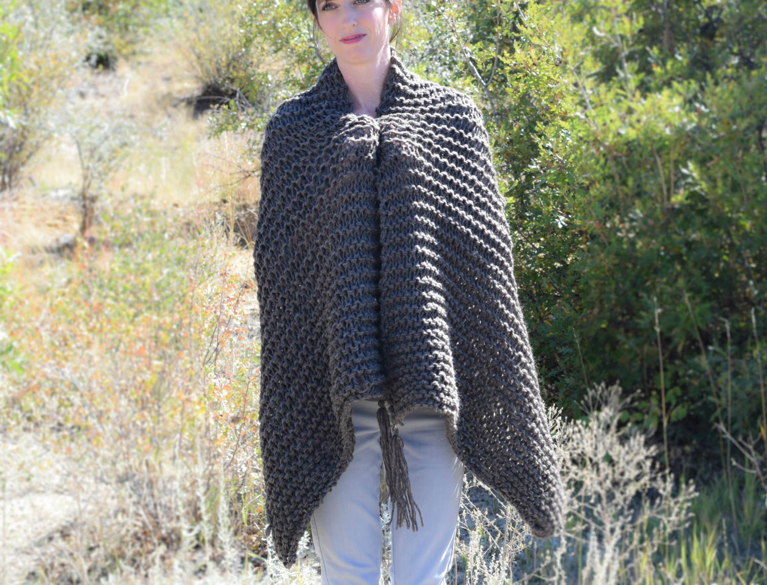 Beginner Knitting Patterns Scarves : Big Beginner Knit Shawl - Scarf Pattern   Mama In A Stitch