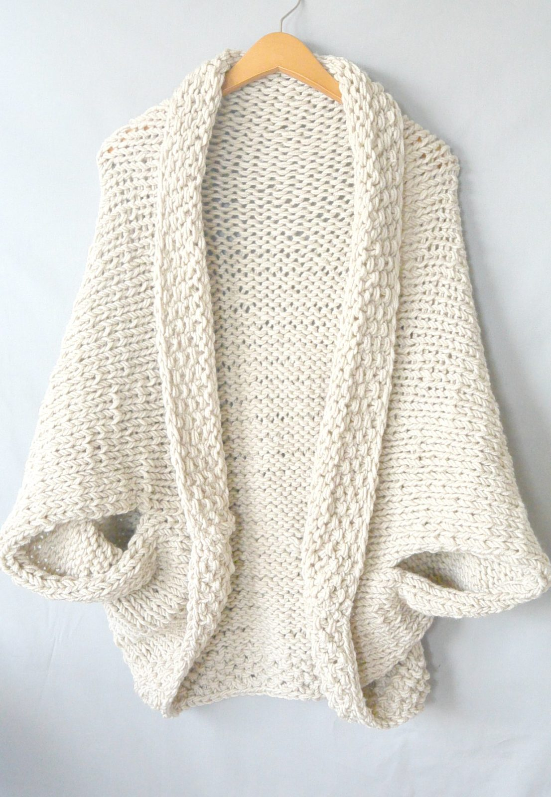 Knitting Pattern Chunky Wool Cardigan : Easy Knit Blanket Sweater Pattern   Mama In A Stitch