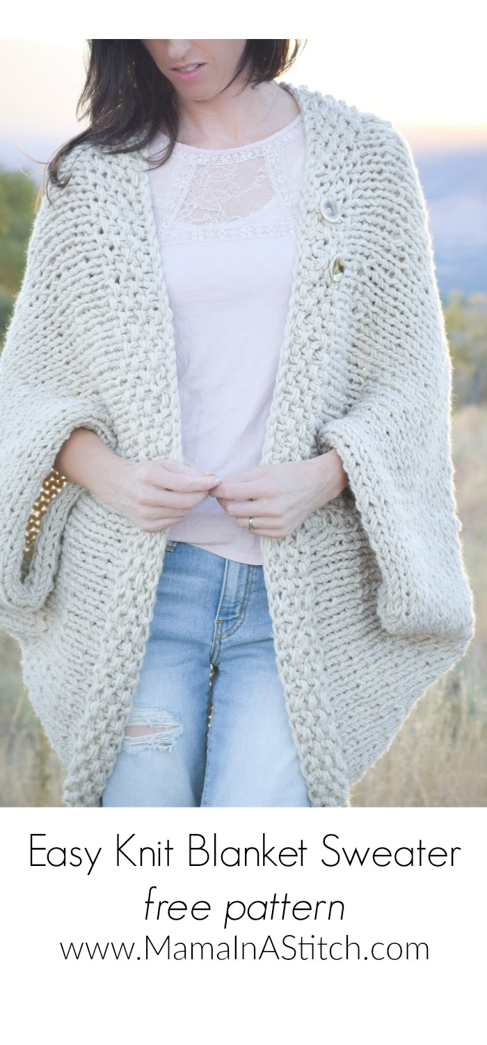 Easy Knit Blanket Sweater Pattern - Mama In A Stitch