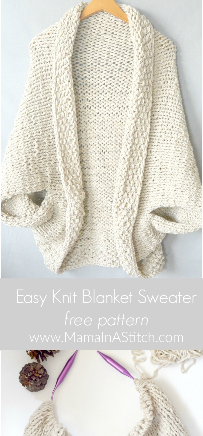 Easy Cardigan Knitting Pattern : Easy Knit Blanket Sweater Pattern   Mama In A Stitch
