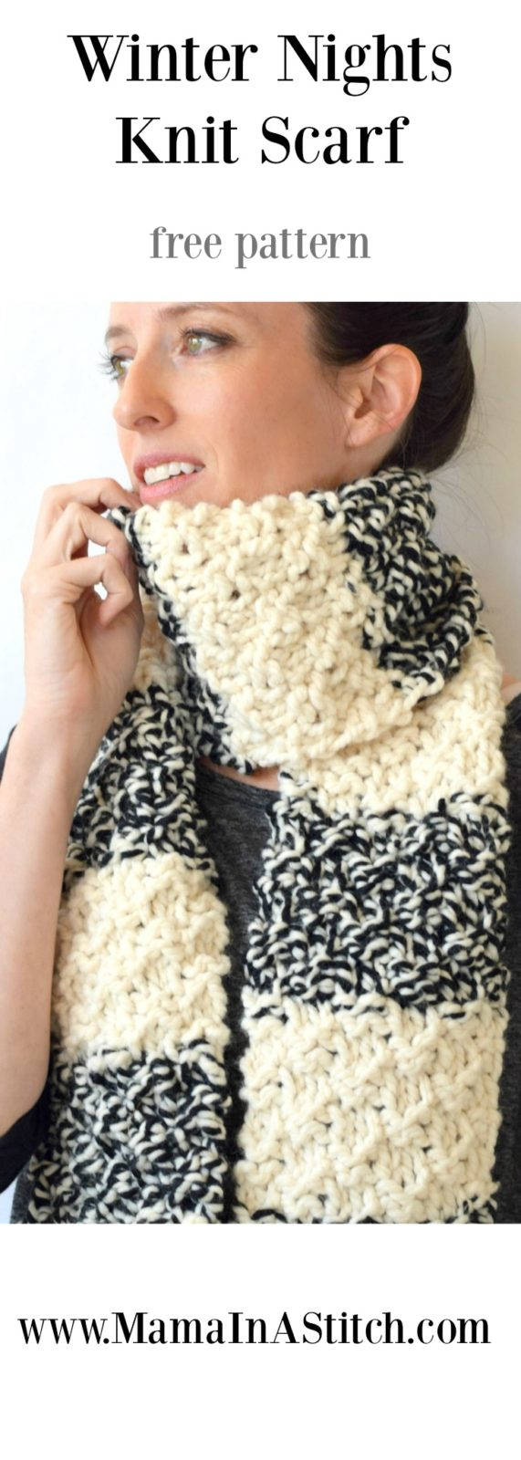 Winter Nights Easy Knit Scarf Pattern - Mama In A Stitch