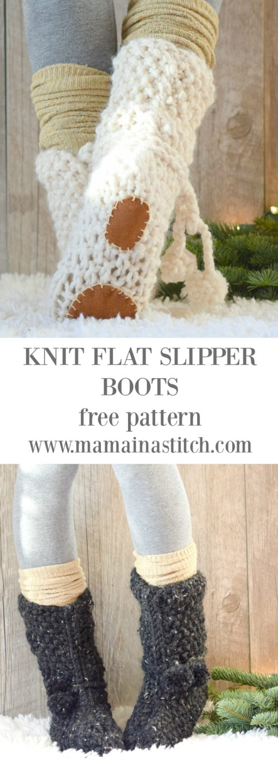 Mountain Chalet Boot Slipper Knitting Pattern Knit Flat Mama In