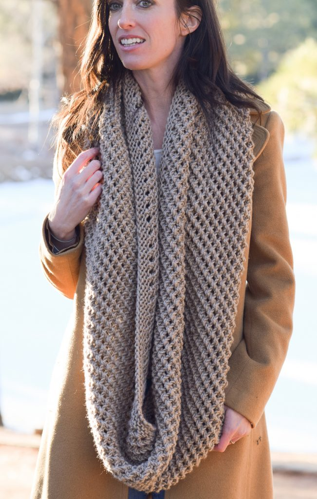 Knitting Patterns For Big Scarves : The Traveler Knit Infinicowl Scarf Pattern   Mama In A Stitch