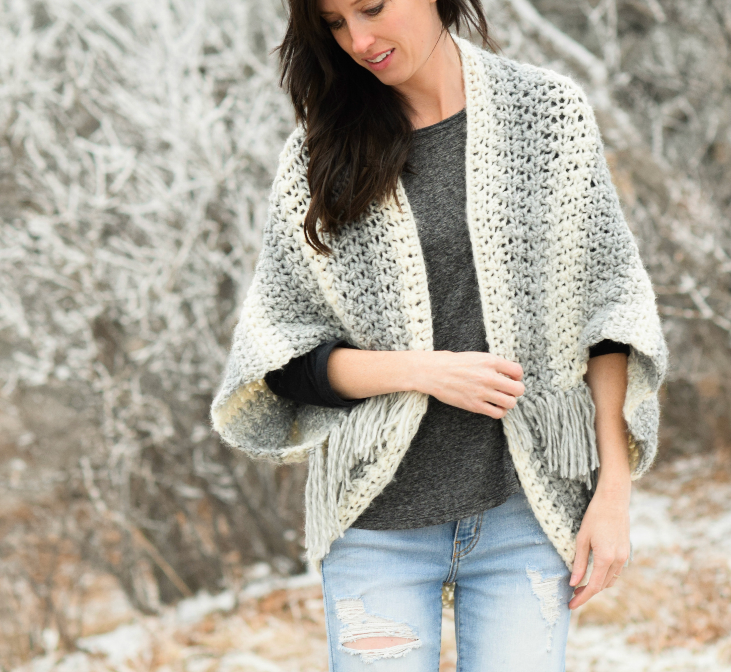 Easy Cardigan Knitting Pattern : Light Frost Easy Blanket Sweater Crochet Pattern   Mama In A Stitch